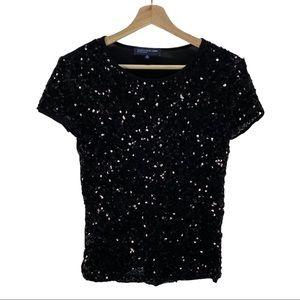 Jones New York Cap Sleeve Sequin Top T-shirt Tees